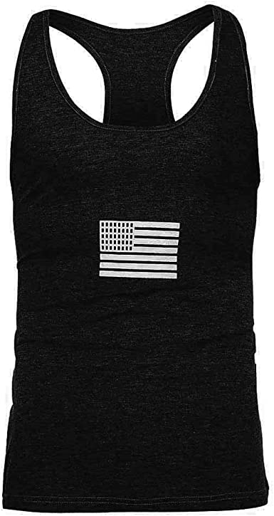 Forthery Men Workout Hooded Tank Tops American Flag Print Short Sleeve Gym Vest Tee