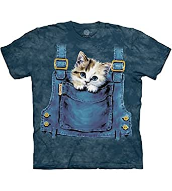 The Mountain Men's Kitty Overalls T-Shirt, Blue, Small