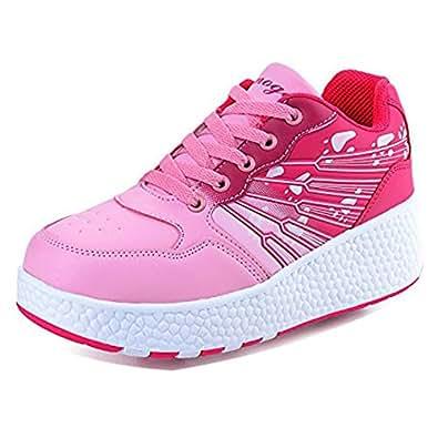 KE Los niños unisex de ruedas Auto-párrafo Zapatos Zapatos Polea Patines Deportes (CN38=24CM , Pink(Two wheels) )