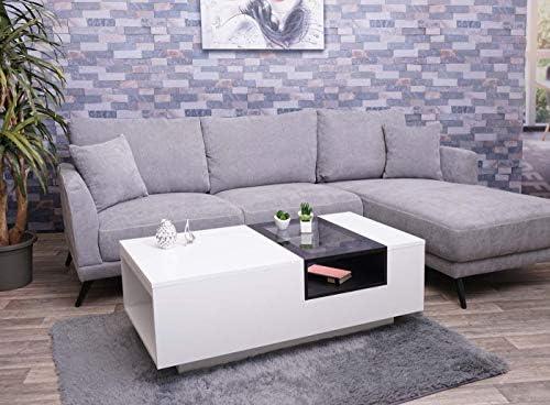 Couchtisch HWC-F62 Wohnzimmertisch Kaffeetisch mit Ablage weiß 120x60cm