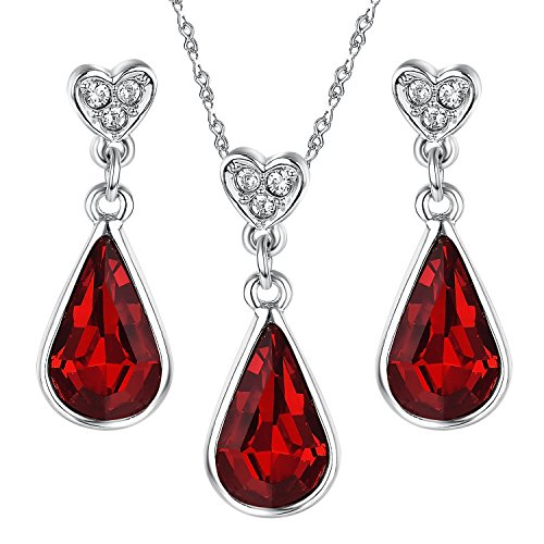 Yoursfs Burgundy Jewelry Set Teardrop Blood Red Crystal Heart Studs Pendant Necklace & Drop Earrings Set Mothers Gift (Heart Set Earring Drop)