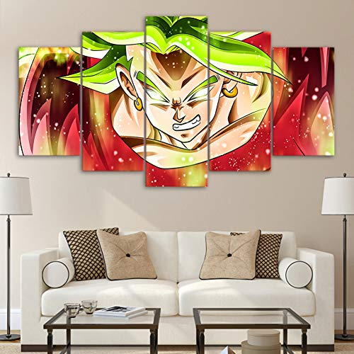 QJXX Dragon Ball Character Image Printed On Canvas 5 Panels Print Super Saiyan Wall Art Picture Printings Canvases for Living Room Decoration(No (G Plan Dining Room Furniture)