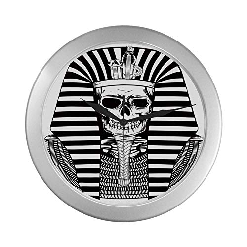 - C COABALLA King Simple Silver Color Wall Clock,Egyptian Pharaoh Ruler Mummy Skull Skeleton Statue for Ancient Egypt Lovers Print for Home Office,9.65