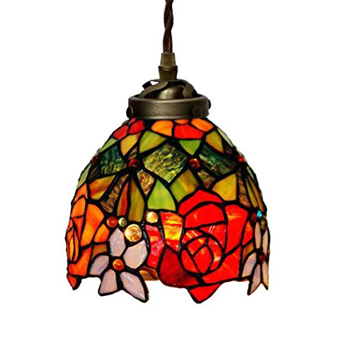 Tiffany Style Pendant Lamp, 7-inch Two-tone Rose Design Glass Small Chandelier, Cloakroom Restaurant Balcony Pendant Lights (Tiffany Two Ring Tone)