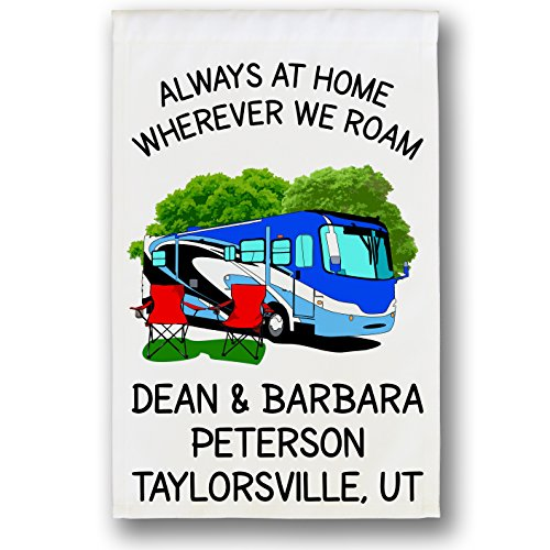 Always at Home Wherever We Roam, Class A Motorhome Campsite Flag, Camper Decor, Personalized Just for You, White (Blue)