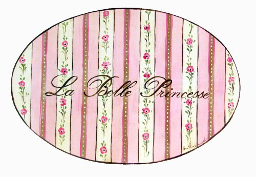 The Kids Room by Stupell La Belle Princess Pink and Floral Striped Oval Wall Plaque (Plaque Hanging Wood Oval)