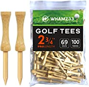 """whamz33 Step Down Golf Tees 2-1/8""""or 2-3/4""""or 3-1/4"""" 100 Pack Durable Wooden Bamboo G"""