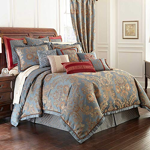 Price comparison product image Waterford Fine Linens Luxury Classic Bed Skirt Bedding Dunham Collection (Blue Gold, Queen)