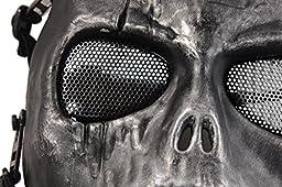 Army Skull Skeleton Airsoft Paintball Bb Gun Game Face Mask (Black & Silver)