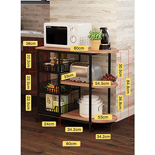 Kitchen shelf HUO Estante De Cocina Cocina Suministros Almacenamiento Estante Piso 3 Estantes (Color : Teca) by Kitchen shelf (Image #1)