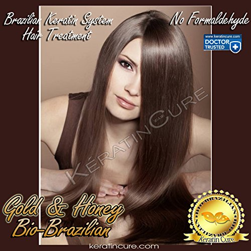 Keratin Cure Best Treatment Gold and Honey Bio for Silky Soft Hair Formaldehyde Free Professional Complex with Argan Oil Nourishing Straightening Damaged Dry Frizzy Coarse Curly Wavy Hair