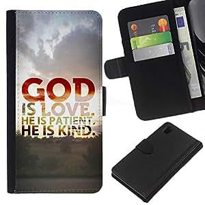 EJOY---La carpeta del tirón la caja de cuero de alta calidad de la PU Caso protector / Sony Xperia Z1 L39 / --BIBLE God Is Love