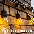 Delxo 48FT LED Bulbs Weatherproof Shatterproof 15 E26 Sockets 18 x 1W S14 Bulbs (3 Spares) Edison LED String Lights Perfect for Patio Cafe Wedding Party Decoration UL Listed
