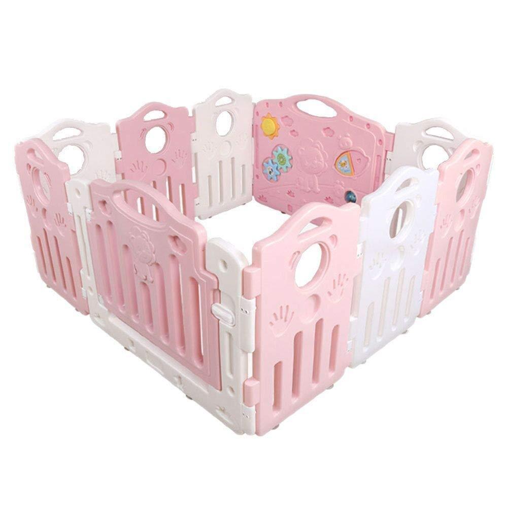 PNFP 赤ちゃんベビーサークルルームディバイダーポータブルクロール幼児フェンス安全フェンス10パネル幼児プレーヤー (Color : Pink)  Pink B07TZZTF9P