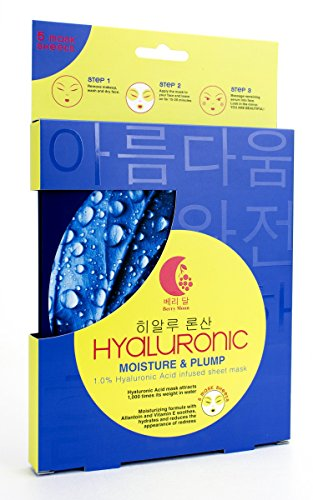 Berry Moon Korean Sheet Mask with Hyaluronic Acid. Hyaluronic Sheet mask helps with fine lines and dry skin, while plumping and hydrating skin. With 1.0% Hyaluronic Acid. Contains 5 sheet (Hyaluronic Acid Berry)