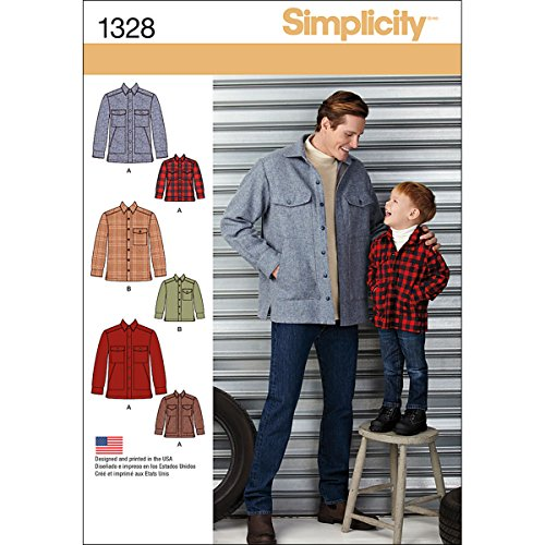 Simplicity Creative Patterns 1328 Boys' and Men's Shirt Jacket Sewing Patterns, Size A (S-L/S-XL) ()
