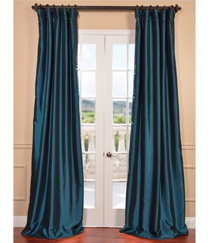 Half Price Drapes PTCH-BO003-96 Blackout Faux Silk Taffeta Curtain, Meditteranean