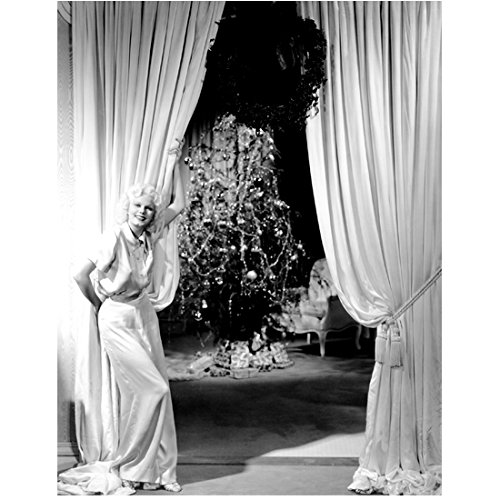 Jean Harlow Pulling Curtain Back Smiling Revealing a Christmas Tree 8 x 10 Inch Photo