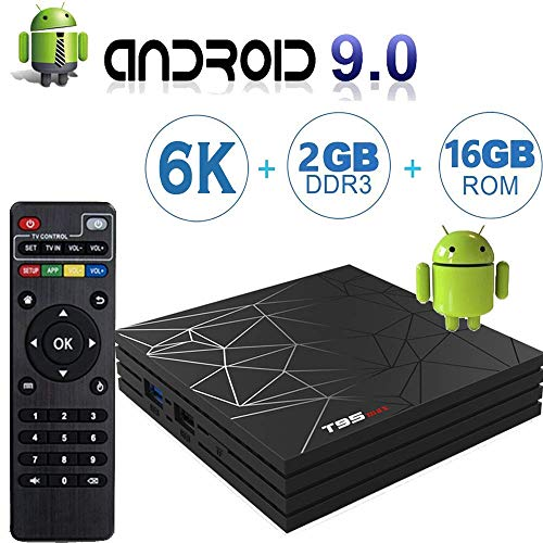 Android 9.0 TV Box with 2GB RAM 16GB ROM, T95 MAX Android Boxes H6 Quad Core, Supporting 6K Full HD/H.265/WiFi 2.4GHz Smart tv Box
