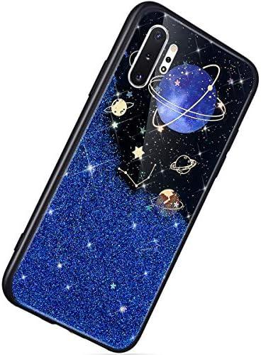 Herbests Kompatibel mit Samsung Galaxy Note 10 Plus Hülle TPU Schutzhülle Glitzer Sterne Universum Planet Muster Ultra Dünn Handyhülle TPU Bumper Weiche Silikon Rückseite Stoßfest Hülle,Blau