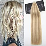 LaaVoo 14″ 20pcs/50g Tape in Extensions Ash Blonde #18 Highlighted with Bleach Blonde #613 100% Remy Human Hair Extensions For Sale