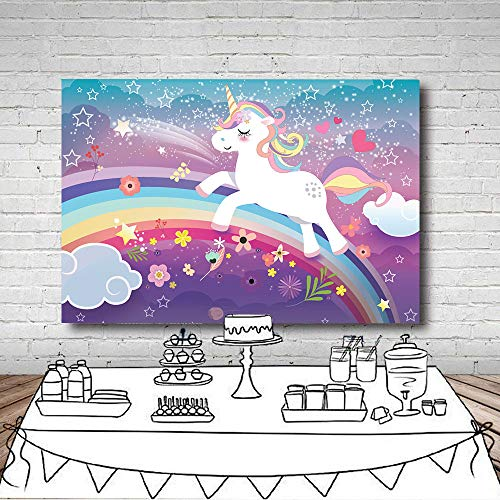 Party Dress Portrait (Fanghui 5x3ft Rainbow Unicorn Theme Photo Backdrops Baby Shower Birthday Party Decoration Supplies Studio Props Photography Background Banner Vinyl)