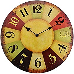"Hippih 12"" Vintage Rustic Country Tuscan Style Wooden Decorative Round Wall Clock A"