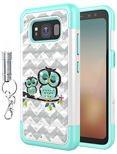 Galaxy S8 Active Case, Style4U [Shockproof] Cute Owl Studded Rhinestone Crystal Bling Hybrid Armor Protective Phone Case for Samsung Galaxy S8 Active with LED Keychain Flashlight [White / Teal] (Owl Phone Case For Samsung Galaxy)