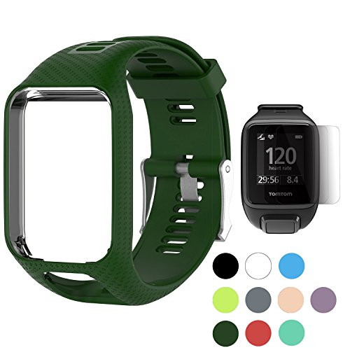 TUSITA WristBand for TomTom Runner 2 3/Spark/Spark 3/Golfer 2/Adventurer, Replacement Silicone Band Strap Accessory (Olive) (Tom Gps Accessory Tom)