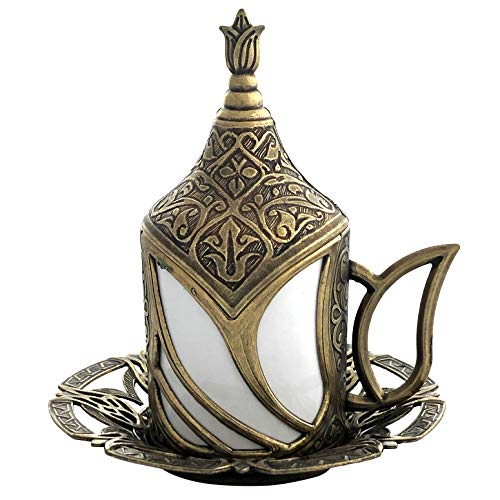 Mandalina Magic Turkish Coffee Cup Tulip Design - Espresso Demitasse Cup with Saucer and Lid (Arabic Dishes Set)