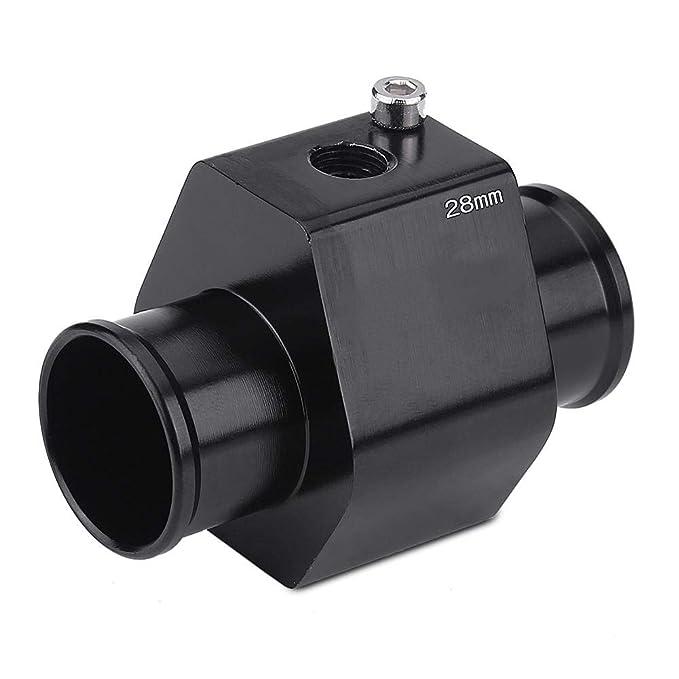 22mm medidor de temperatura del agua de aluminio de Keenso Adaptador del sensor del radiador de tuber/ía conjunta con 2 abrazaderas Adaptador del sensor de temperatura del agua de la motocicleta