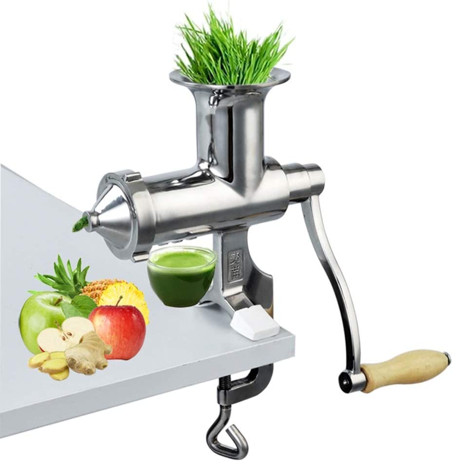 ZTT Stainless Steel Manual Wheatgrass Juicer,Manual Wheatgrass Juicer,with Suction Cup Base and Desktop Clamp,for Juicing Gingers Apples Grapes