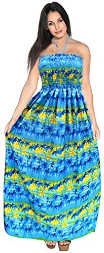 LA LEELA Soft  Printed Tie Dye Maxi Tube Halter Dresses  Royal Blue 429 One Size