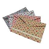 Enveloped File Holder Canvas Floral Document Paper Briefcase A4 Storage Bag Snap Clutch Filing Folders 4 Pack