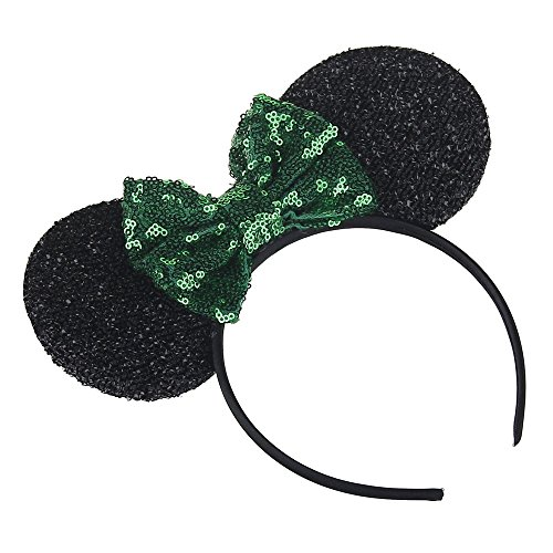 Kewl Fashion Sequins Bowknot Lovely Mouse Ear Headband Headwear for Travel Festivals (Green)