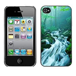 LECELL -- Funda protectora / Cubierta / Piel For Apple iPhone 4 / 4S -- Bamboo Chinese Waterfall Stream --