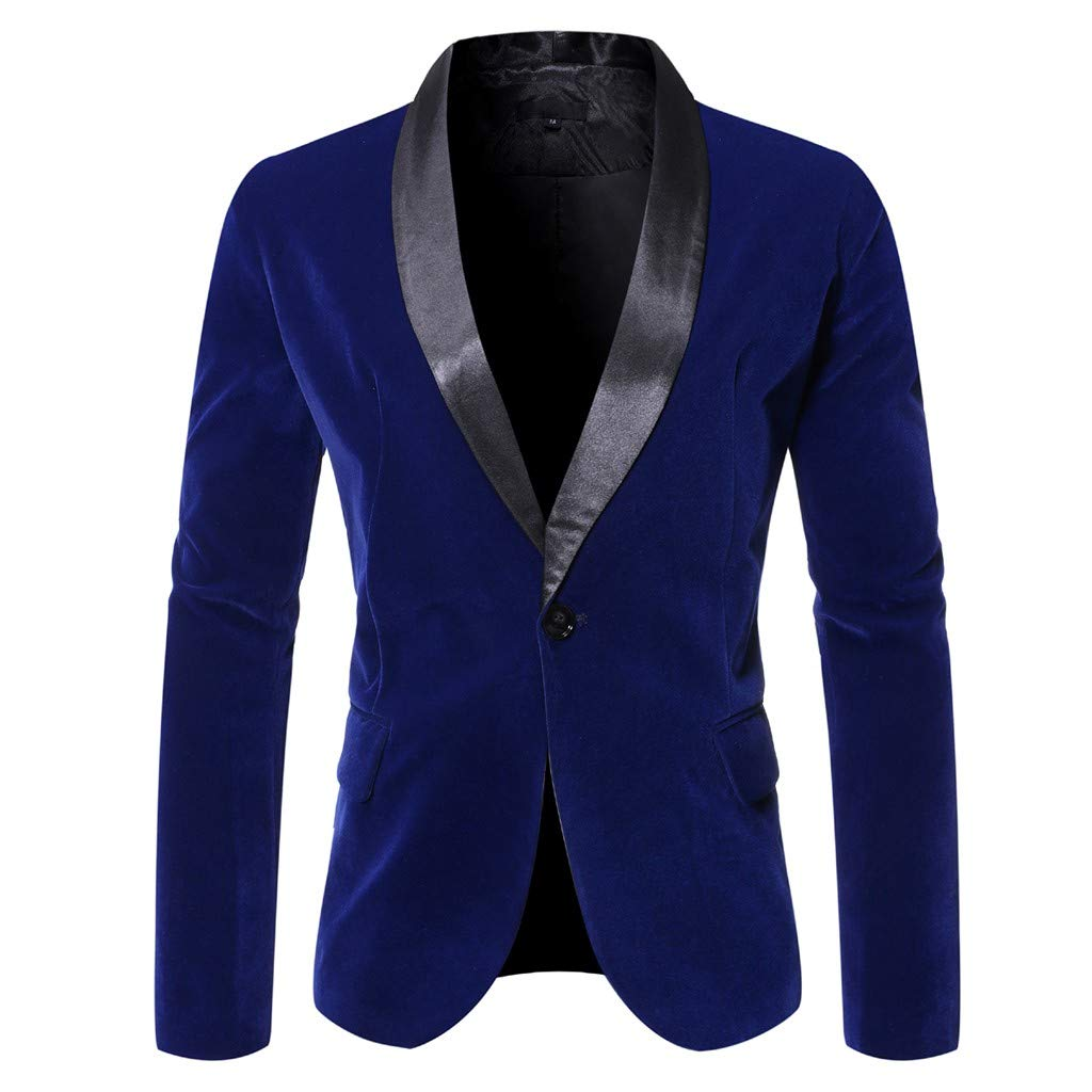 WINJUD Mens Blazer Slim One Button Patchwork Suit for Business Wedding Party Outwear (Blue,M) by WINJUD
