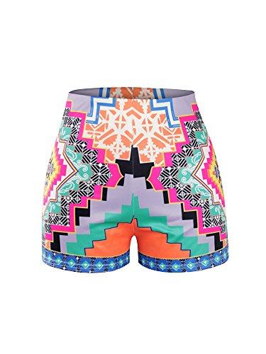 OCHENTA Mujeres Impresión Floral Pantalones Cortos de Cintura Alta de Ropa de playa BCD004