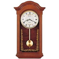 Bulova C4443 Baronet Clock, Mahogany Finish