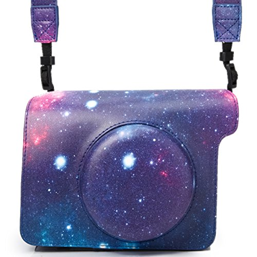 Woodmin Galaxy PU Leather Protective Fujifilm Instax Wide 300 Case with Shoulder Strap for for Fuji Instant Wide 300 Camera (Fuji Instax Wide Camera Case)