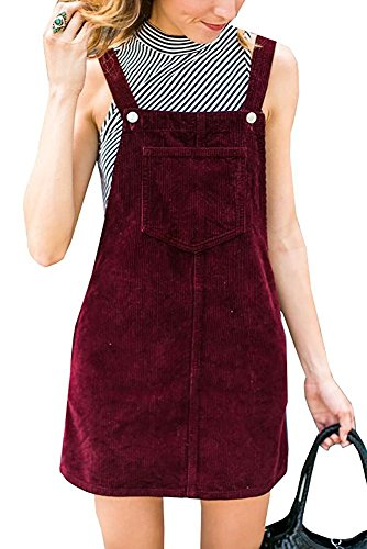 Ladies Casual Corduroy Suspender Skirt Mini Bib Overall Pinafore Dress Red S with Pocket