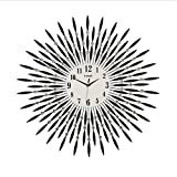 LQQGXL Large decorative black leaf metal wall clock digital clock suitable for housewarming gifts 30 inches Creative clock