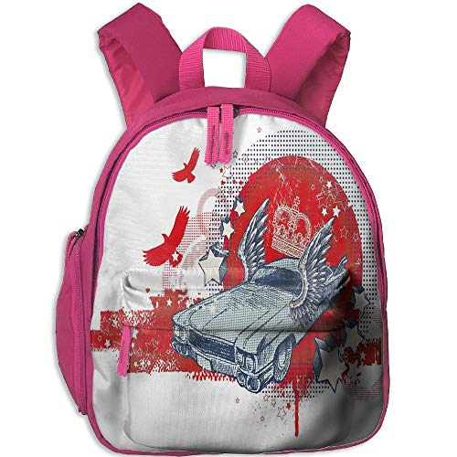 (Haixia Child Boys&Girls Backpacks with Pocket Retro Abstract Illustration Hand Drawn Winged Crowned Vintage Style Car Birds and Stars Full Red Baby Blue)