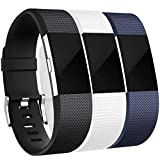 Maledan Bands Replacement Compatible with Fitbit Charge 2, 3-Pack, Black/Blue/White, Small