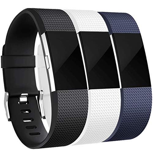 Maledan Bands Replacement Compatible with Fitbit Charge 2, 3-Pack, Black/Blue/White, Large
