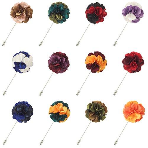FM FM42 Men's Double Colors Shiny Lapel Flower Handmade Boutonniere Pin (Pack of 12)