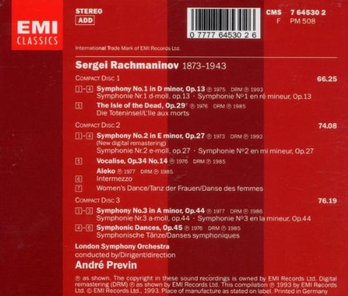 Rachmaninov: Symphonies Nos. 1-3 / The Isle of the Dead / Symphonic Dances / Vocalise, Opp. 13,14,27,29,44,45 / Aleko (extracts) by EMI Classics