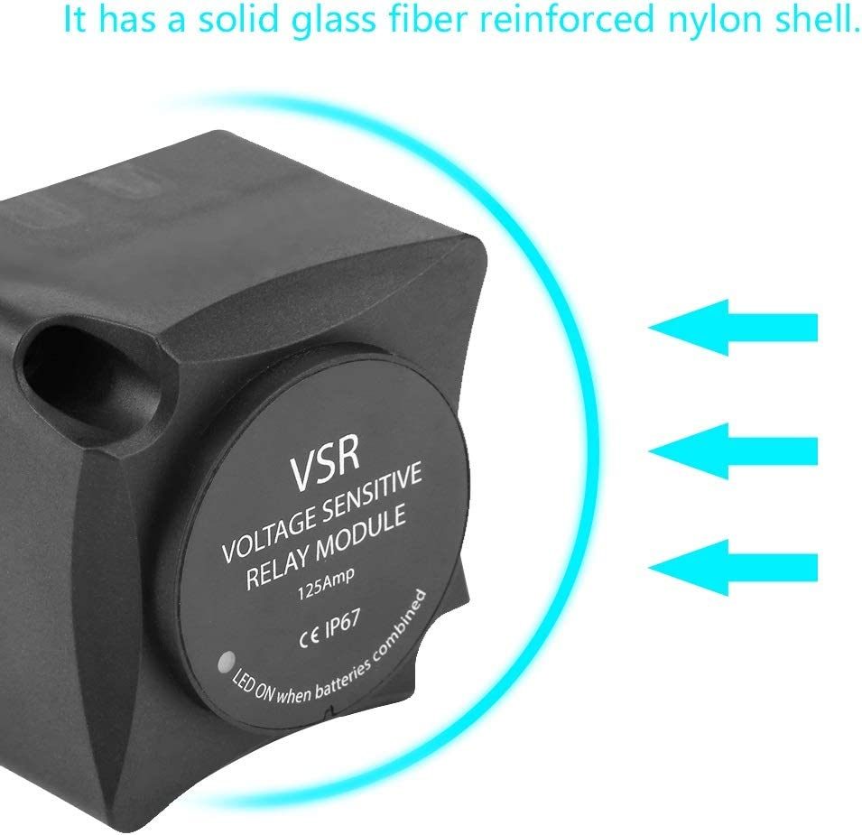 BiuZi 1Pc DC 13.3V VSR Rel/é Sensible Al Voltaje 12.8V Nylon Negro Rel/é Sensible Al Voltaje Aislador De Bater/ía Doble 125A M/ódulo De Rel/é De Carga Autom/ática