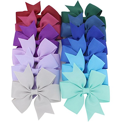 Mybigqueen Boutique Grosgrain Ribbon Pinwheel Hair Bows Attached With Alligator Clips For Teens Girls Babies Toddlers Gifts 40Piece