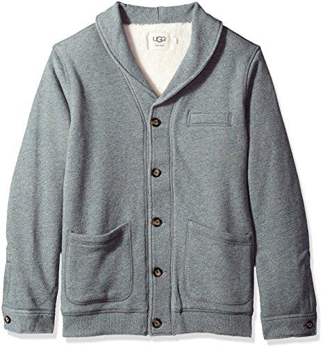 UGG Men's Sherpa Lined Shawl Cardigan, Grey Heather, (Lined Cardigan Sweater)